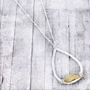 Jewelry - Textured two-tone  with charm pendant necklace
